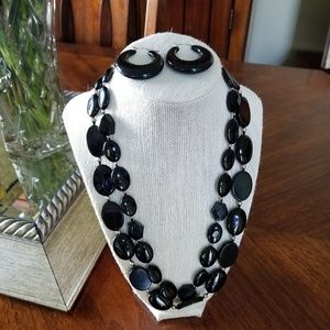 925 Silver Onyx Necklace with Earrings